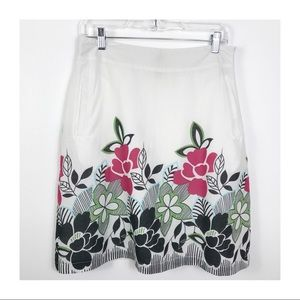 DownEast White Floral Lined Cotton Skirt M